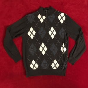 BKE Quarter-Zip Sweater (Gray Argyle, size XL)